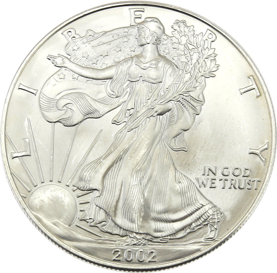 Pre-Owned 2002 USA Eagle 1oz Silver Coin - VAT Free