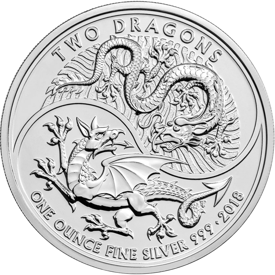 Pre-Owned 2018 UK Two Dragons 1oz Silver Coin