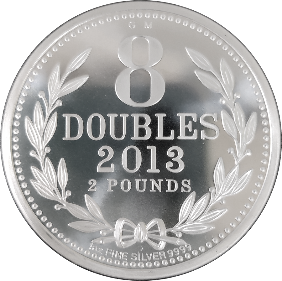 Pre-Owned 2013 Guernsey 8 Doubles £2 Silver Coin - VAT Free (Image 1)