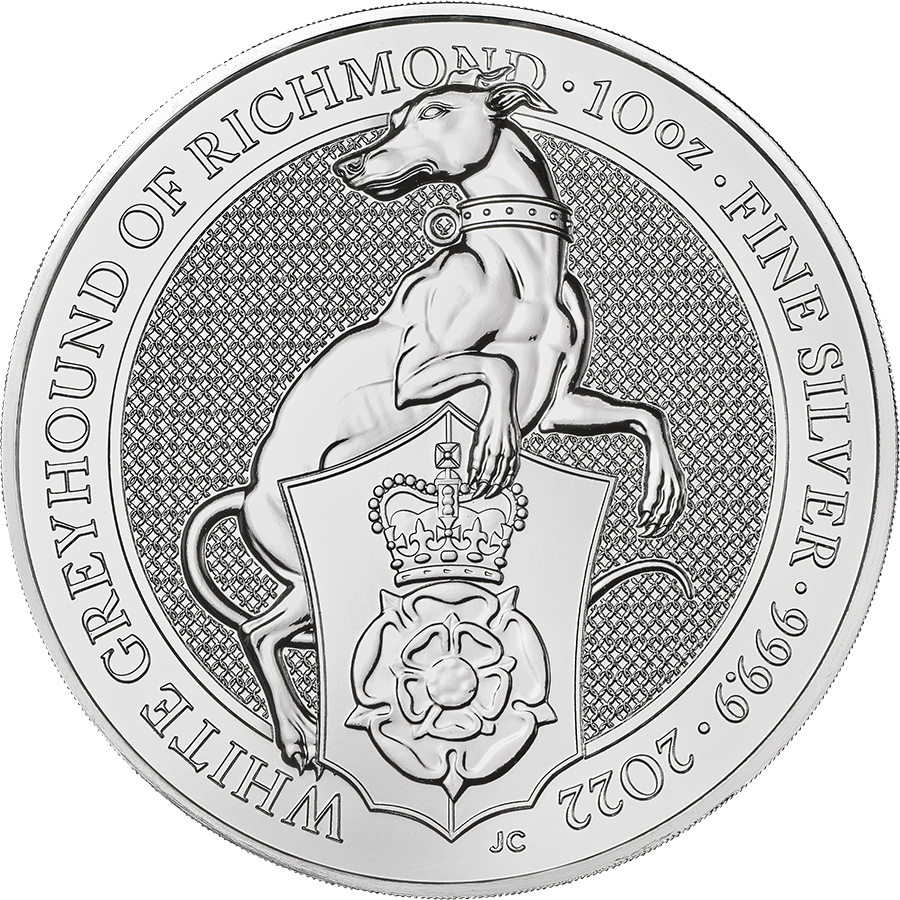 2022 UK Queen's Beasts The White Greyhound of Richmond 10oz Silver Coin