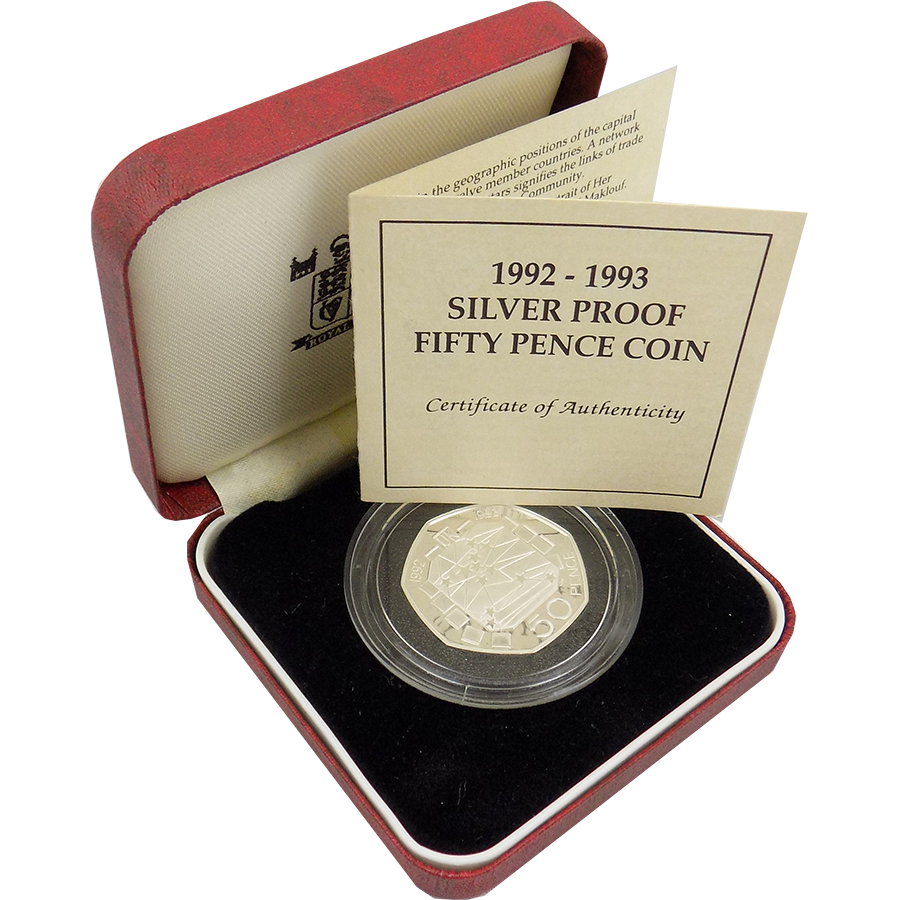 Pre-Owned UK 1992 - 1993 Proof 50p Silver Coin - VAT Free