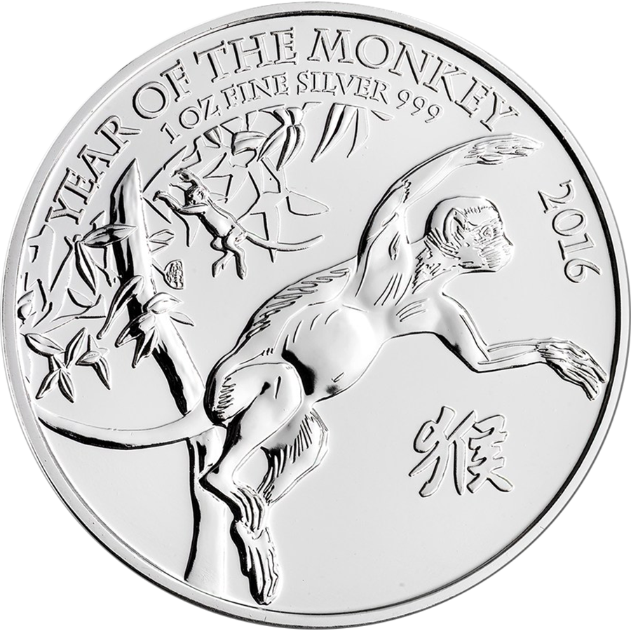2016 UK Lunar Monkey 1oz Silver Coin