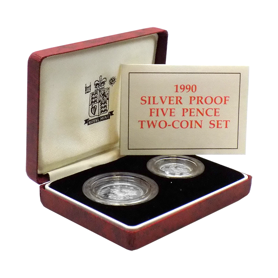 Pre-Owned UK 1990 Proof Silver Five Pence Two Coin Set - VAT Free