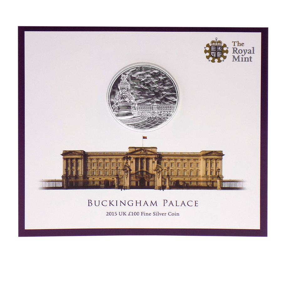 Pre-Owned 2015 UK Buckingham Palace £100 Fine Silver Coin - VAT Free