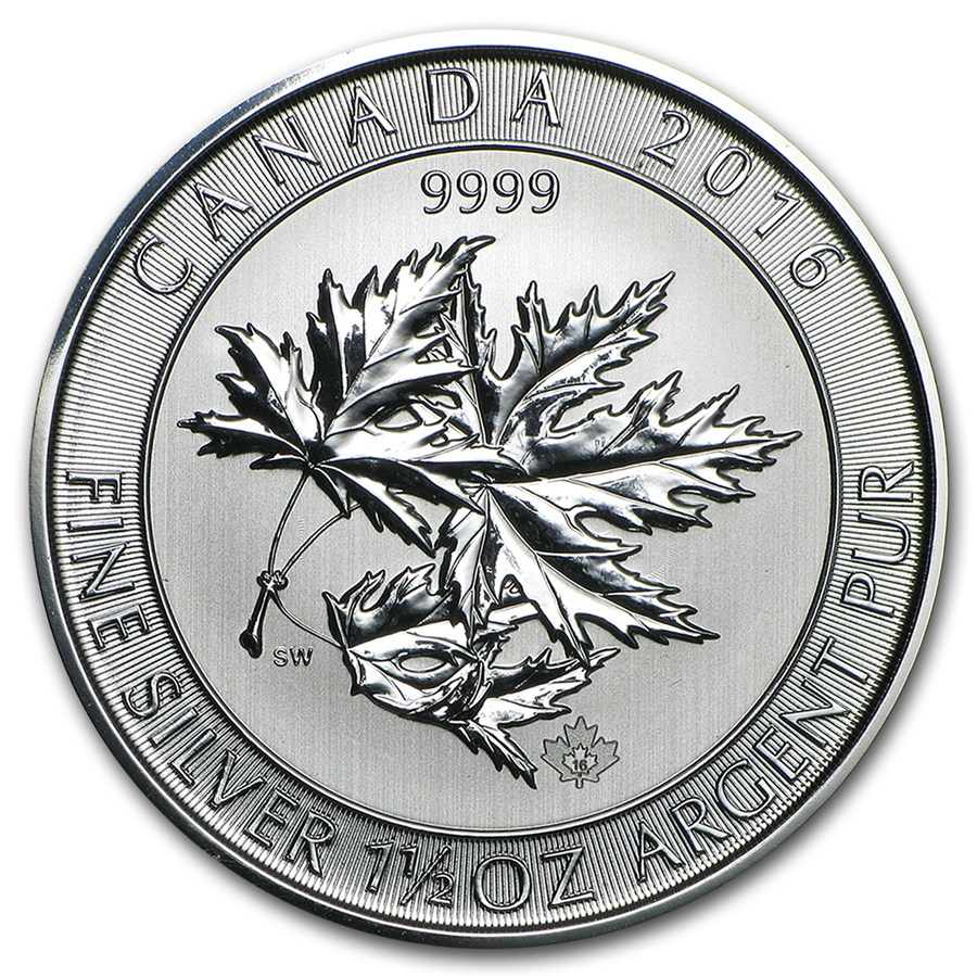 2016 Canadian SuperLeaf 1.5oz Silver Coin