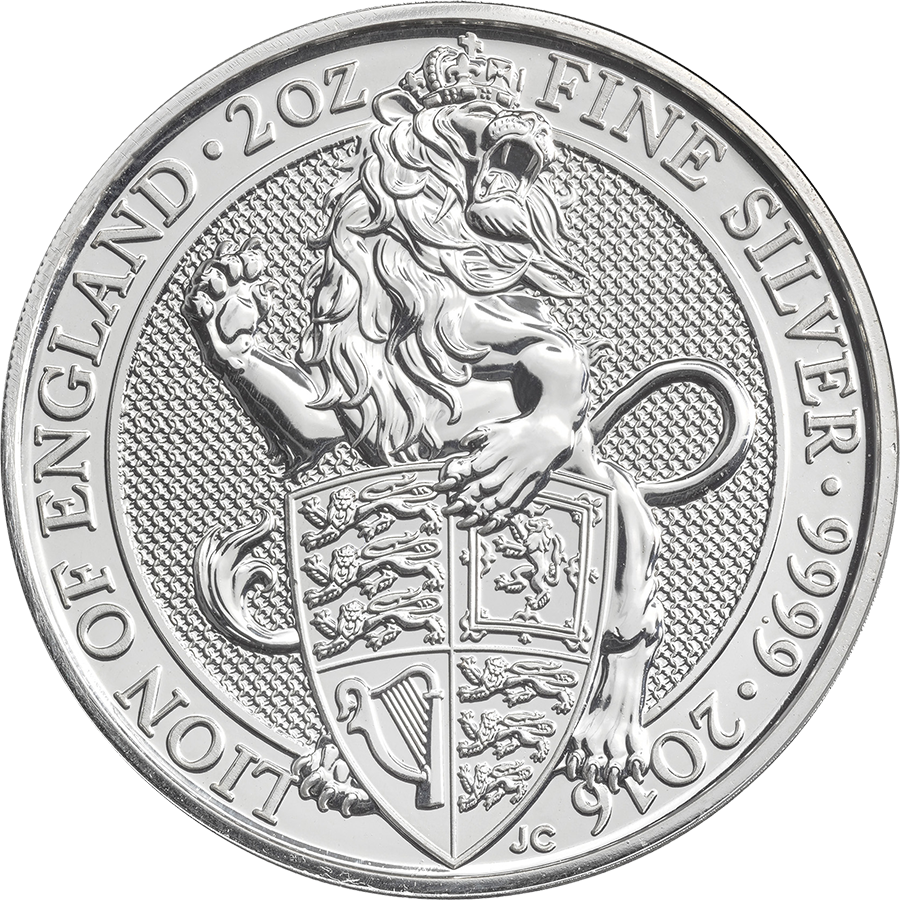2016 UK Queen's Beasts The Lion 2oz Silver Coin