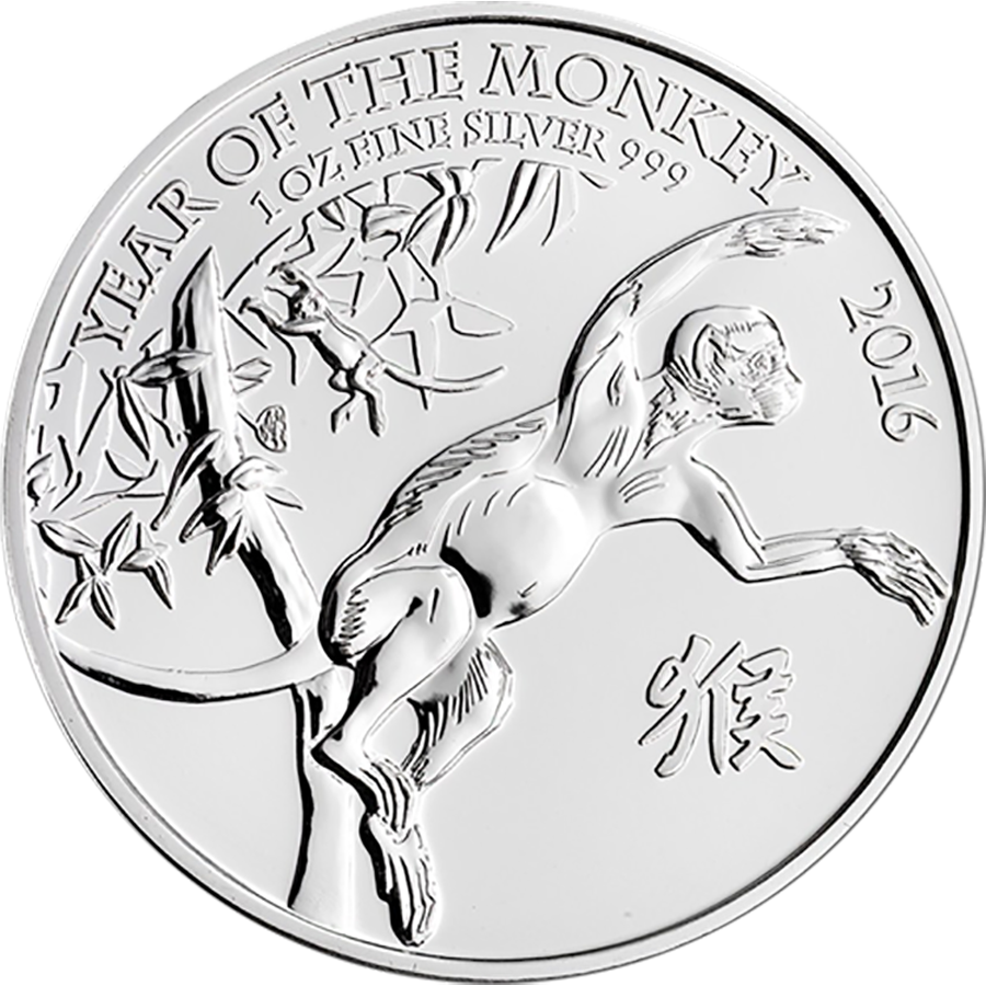 Pre-Owned 2016 UK Lunar Monkey 1oz Silver Coin - VAT Free