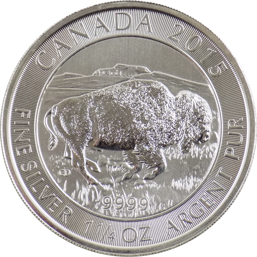 Pre-Owned 2015 Canadian Bison 1.25oz Silver Coin - Vat Free