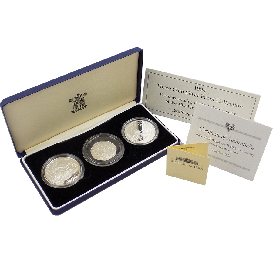 Pre-Owned 1994 50th Anniversary of the Allied Invasion of Europe Three Coin Silver Proof Collection