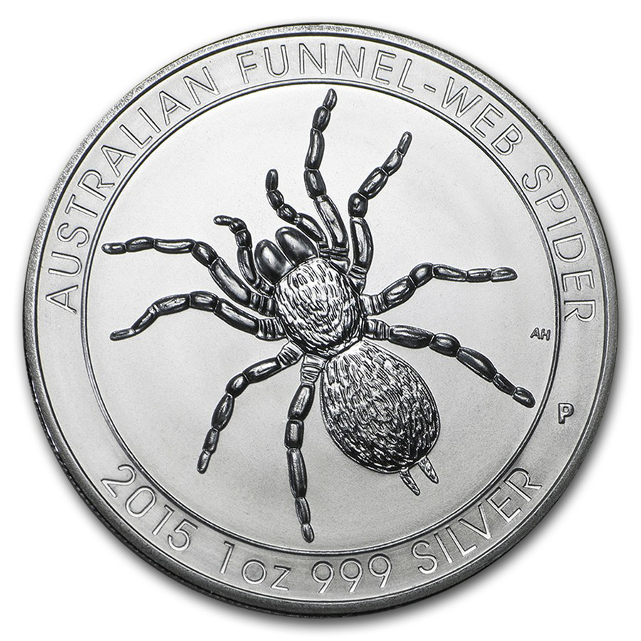 Pre-Owned 2015 Australian Funnel-Web Spider 1oz Silver Coin - VAT Free