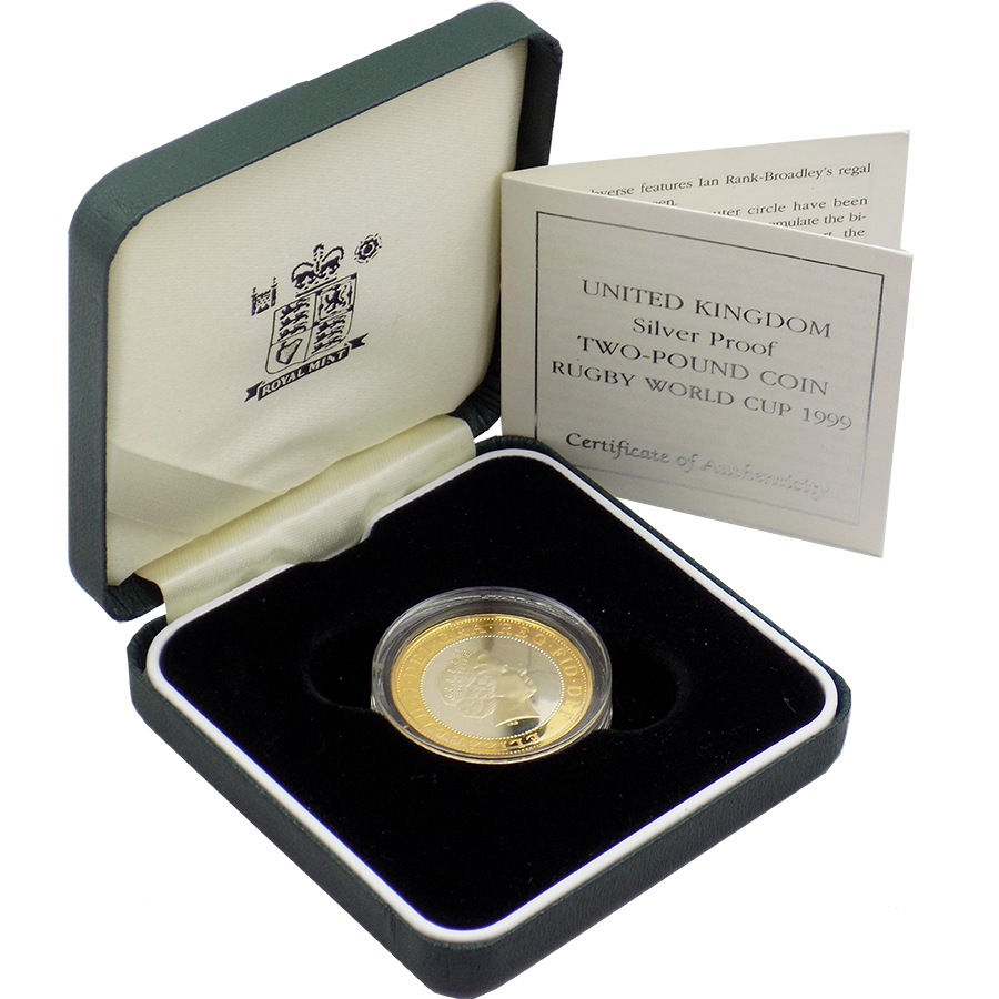 Pre-Owned 1999 UK Rugby World Cup Silver Proof £2 Coin - VAT Free (Image 1)