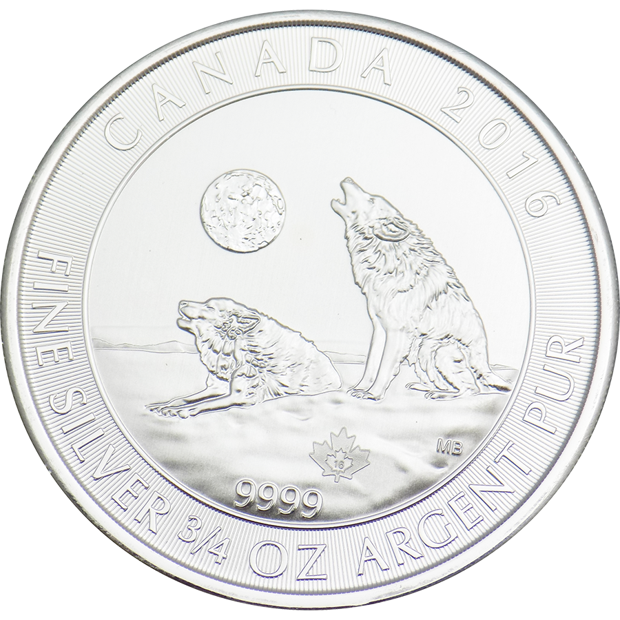 Pre-Owned 2016 Canadian Howling Wolves 3/4 oz Silver Coin - VAT Free
