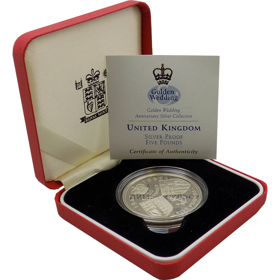 Pre-Owned 1997 UK Golden Wedding £5 Proof Silver Coin - VAT Free