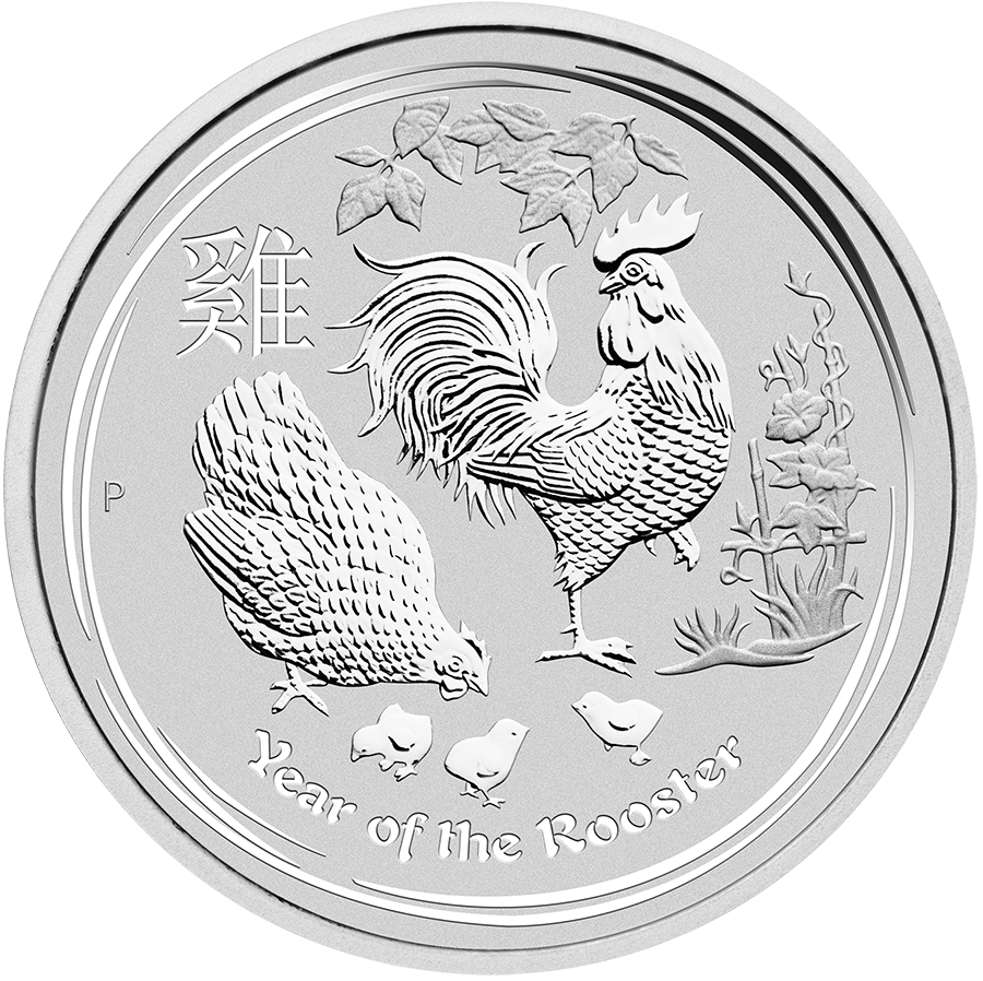 2017 Australian Lunar Rooster 2oz Silver Coin (Image 1)