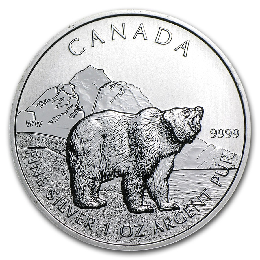 Pre-Owned 2011 Canadian Grizzly Bear 1oz Silver Coin - VAT Free