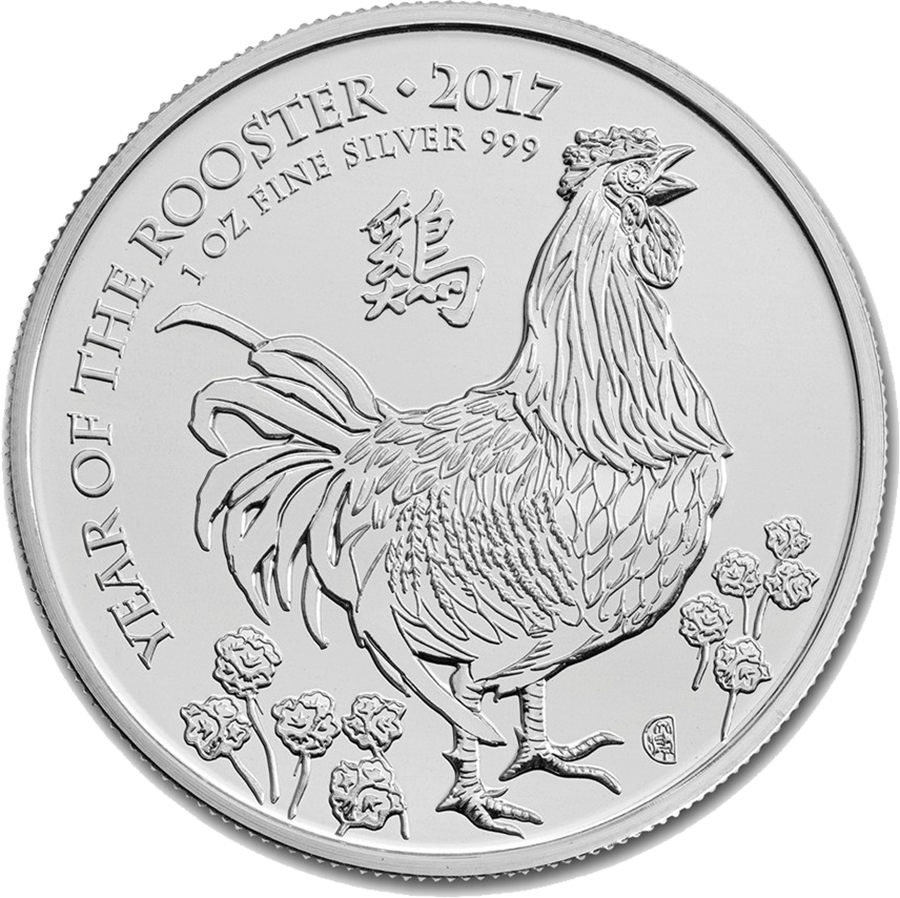 Pre-Owned 2017 UK Lunar Rooster 1oz Silver Coin - VAT Free (Image 1)