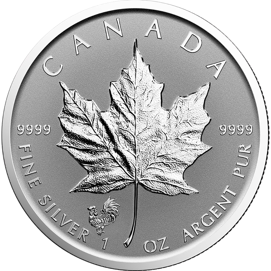 2017 Canadian Maple 1oz Lunar Rooster Privy Silver Coin