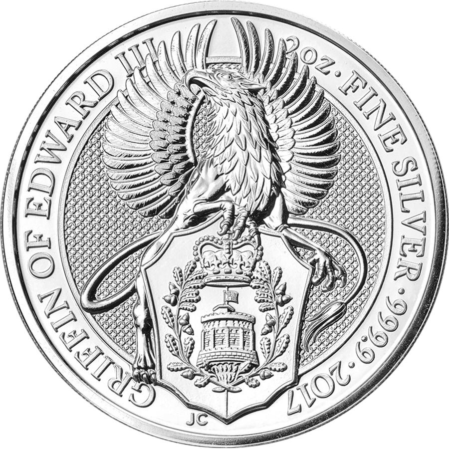 2017 UK Queen's Beasts The Griffin 2oz Silver Coin (Image 1)
