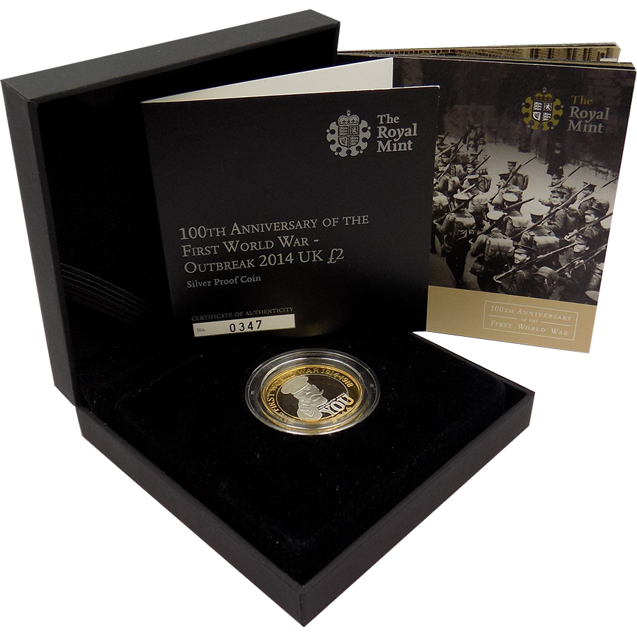 Pre-Owned 2014 UK 100th Anniversary of the First World War £2 Silver Proof Coin - VAT Free