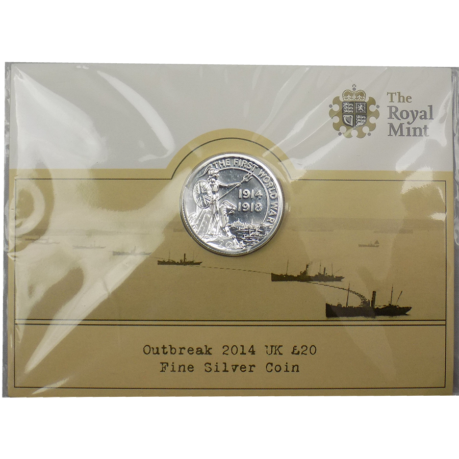 Pre-Owned 2014 UK 'Outbreak' £20 Carded Silver Coin - VAT Free