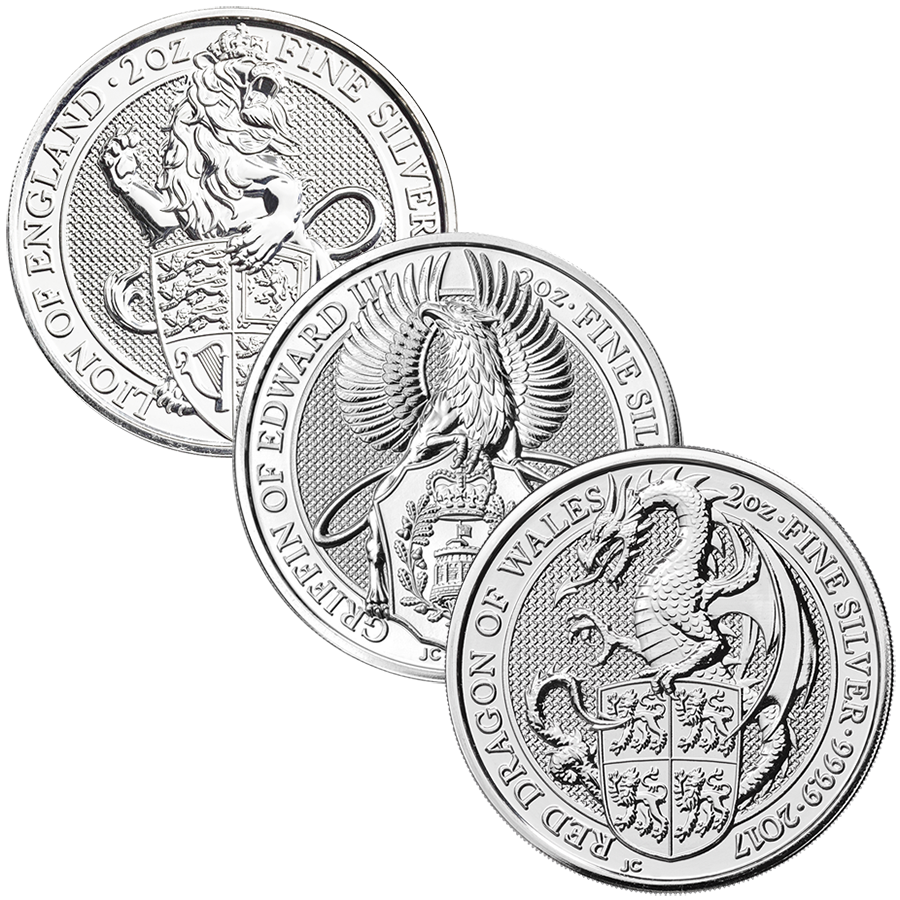 2017 & 2016 UK Queen's Beasts Lion, Griffin & Dragon 2oz Silver Coin Collection (3 coins) (Image 1)