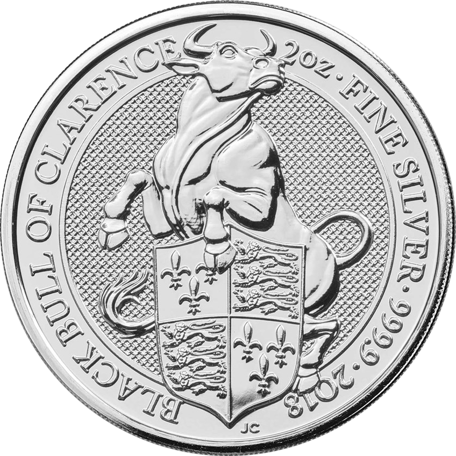 2018 UK Queen's Beasts Black Bull of Clarence 2oz Silver Coin