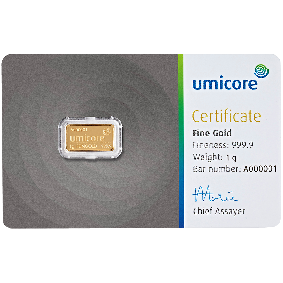 Umicore 1g Stamped Gold Bar in Assay (Image 1)