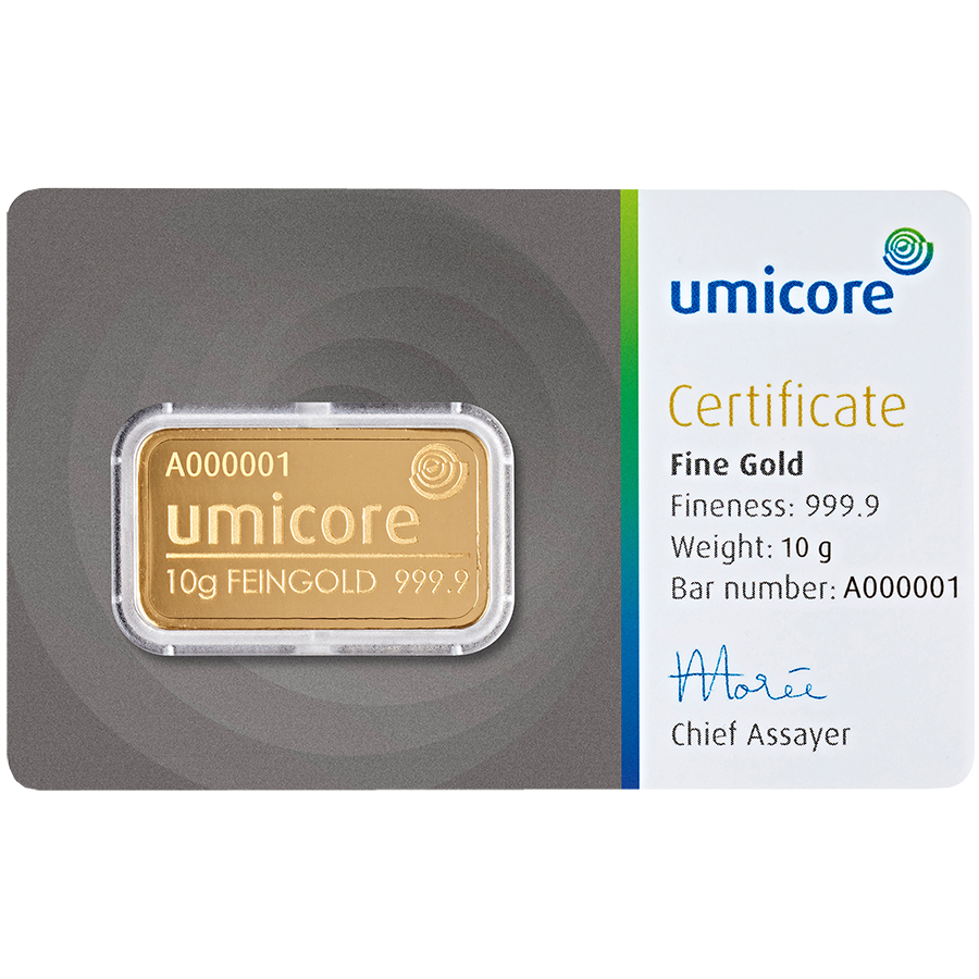 Umicore 10g Gold Stamped Bar in Assay (Image 1)