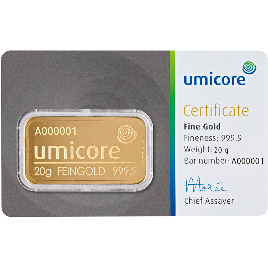 Umicore 20g Gold Stamped Bar in Assay