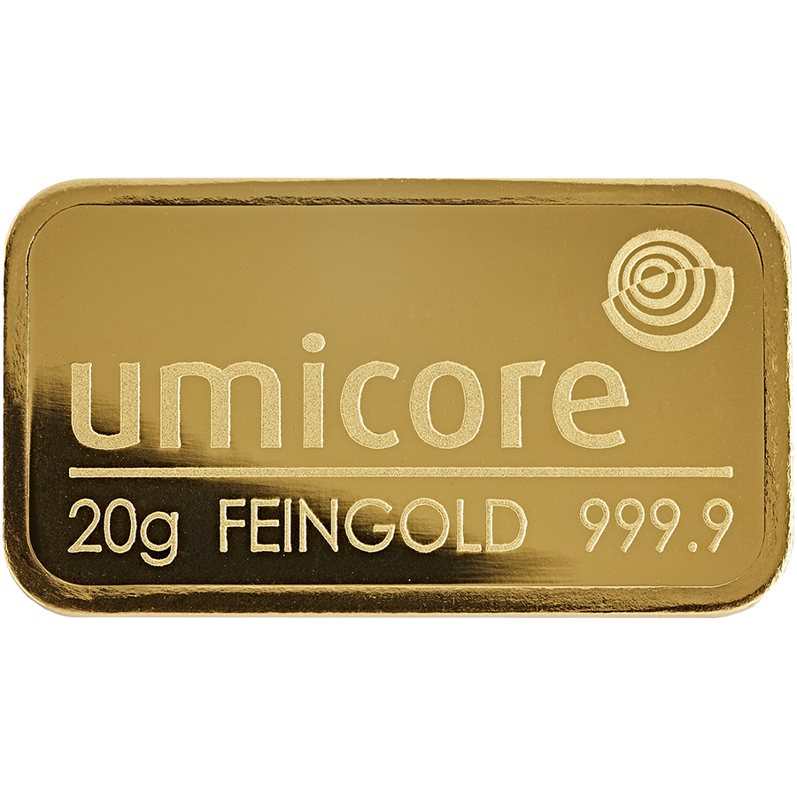 Umicore 20g Gold Stamped Bar in Assay (Image 3)