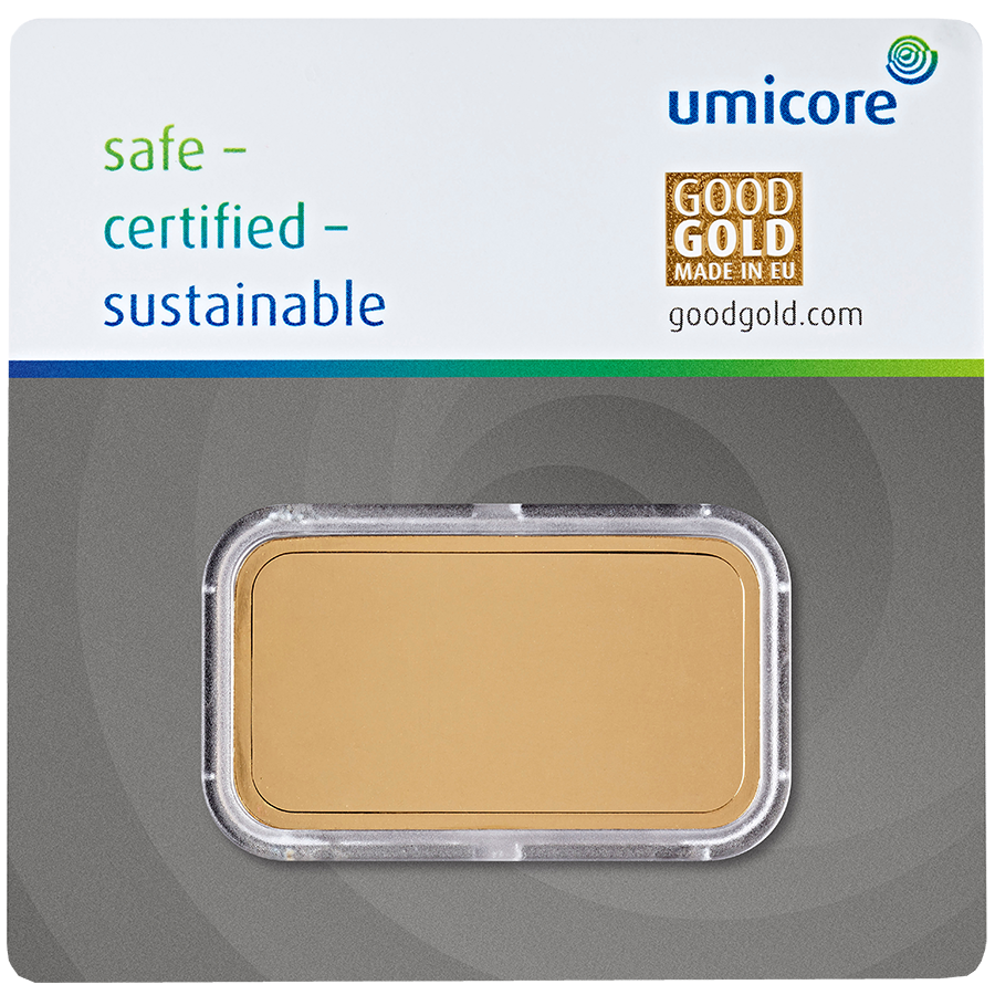Umicore 50g Gold Stamped Bar in Assay (Image 2)