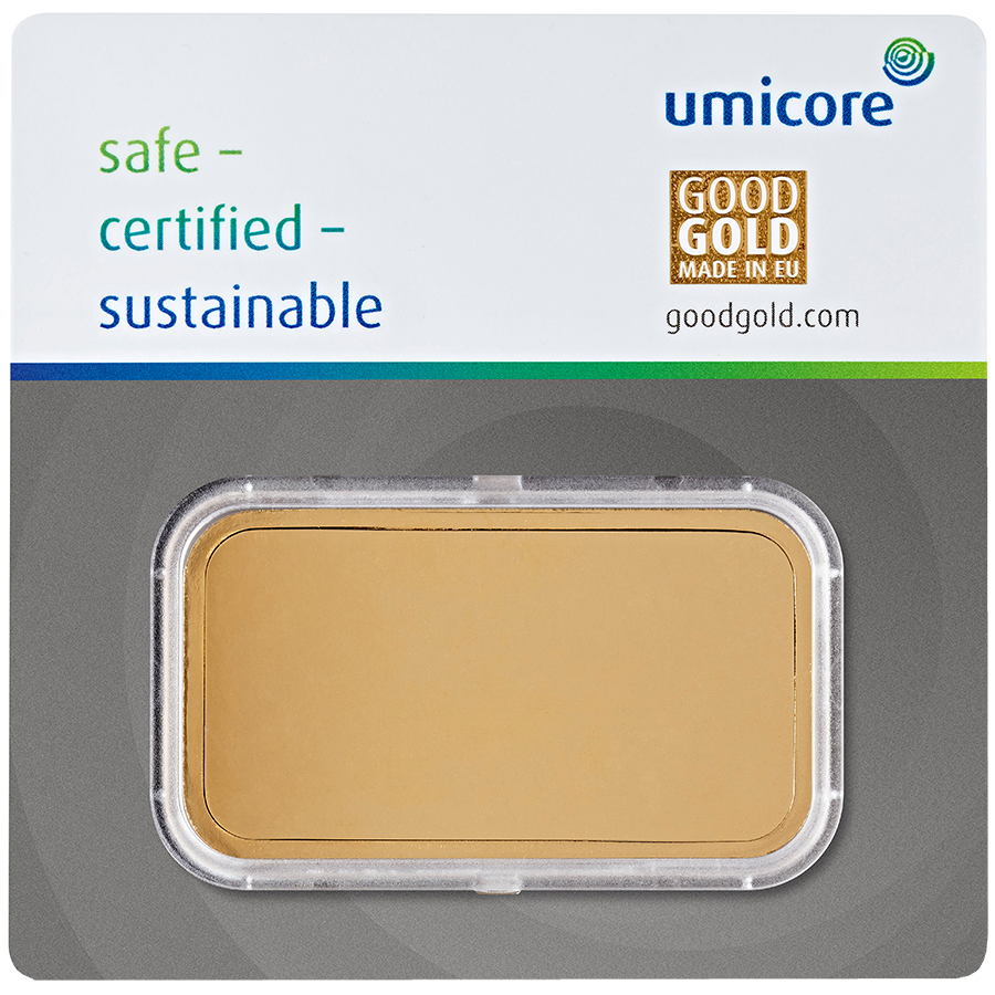 Umicore 100g Gold Stamped Bar in Assay (Image 2)