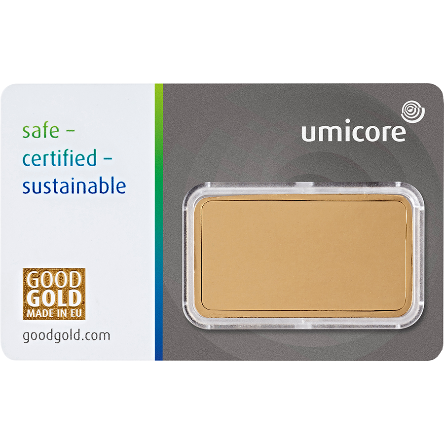 Umicore 1oz Gold Stamped Bar in Assay (Image 2)