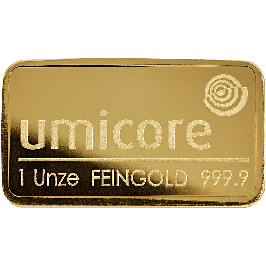 Umicore 1oz Gold Stamped Bar in Assay (Image 3)
