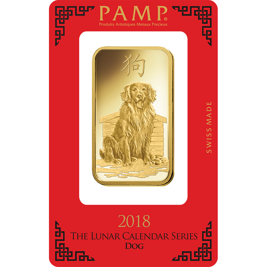 PAMP 2018 Lunar Dog 100g Gold Bar