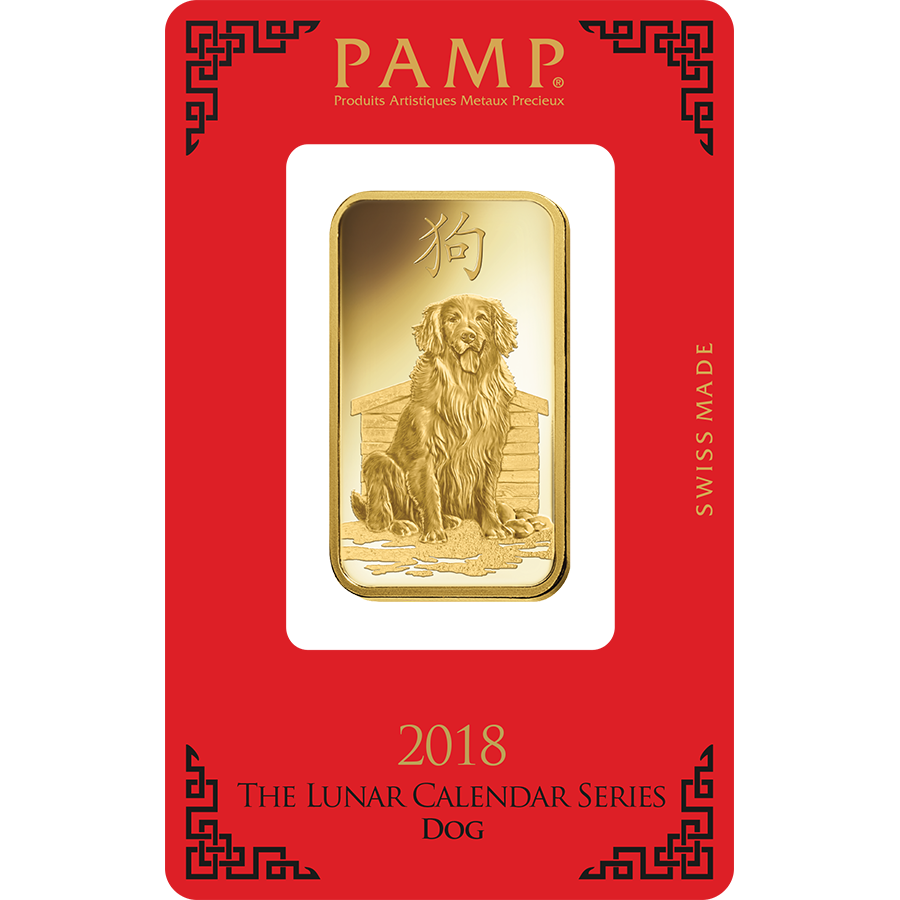 PAMP 2018 Lunar Dog 1oz Gold Bar
