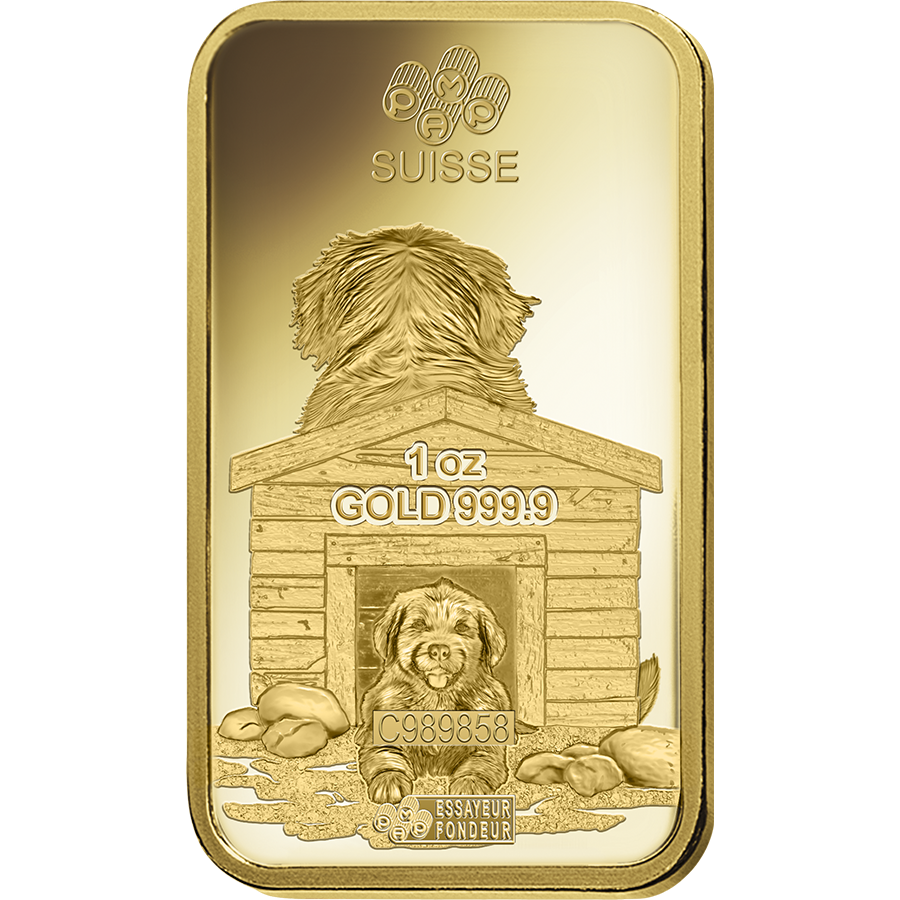 Pamp 2018 Lunar Dog 1oz Gold Bar Lunar Gold Uk