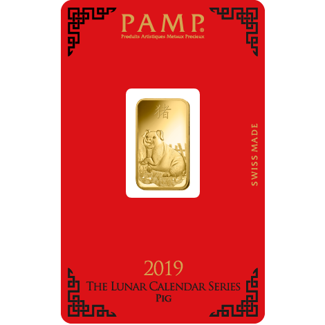PAMP 2019 Lunar Pig 5g Gold Bar