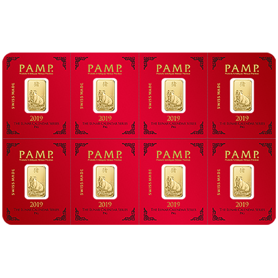 PAMP 2019 Lunar Pig 8x 1g Multigram Gold Bar (Image 1)