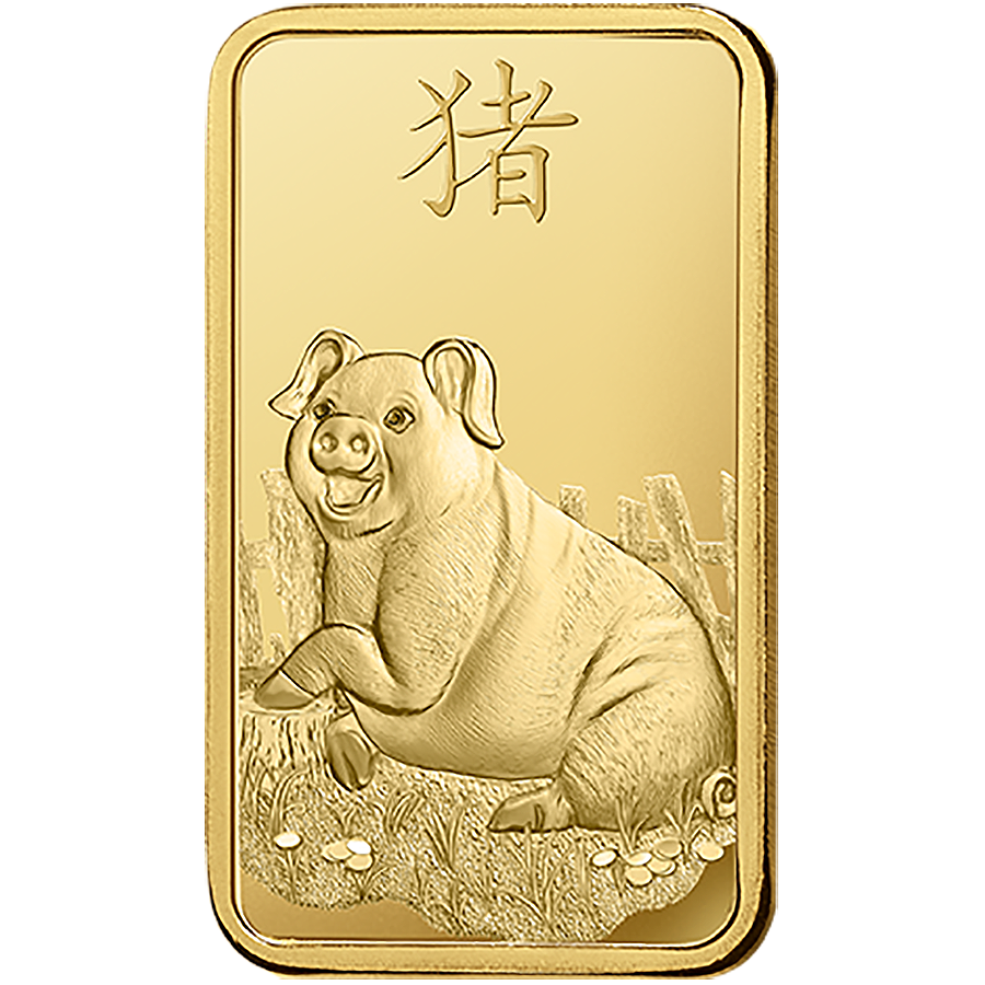 PAMP 2019 Lunar Pig 8x 1g Multigram Gold Bar (Image 3)