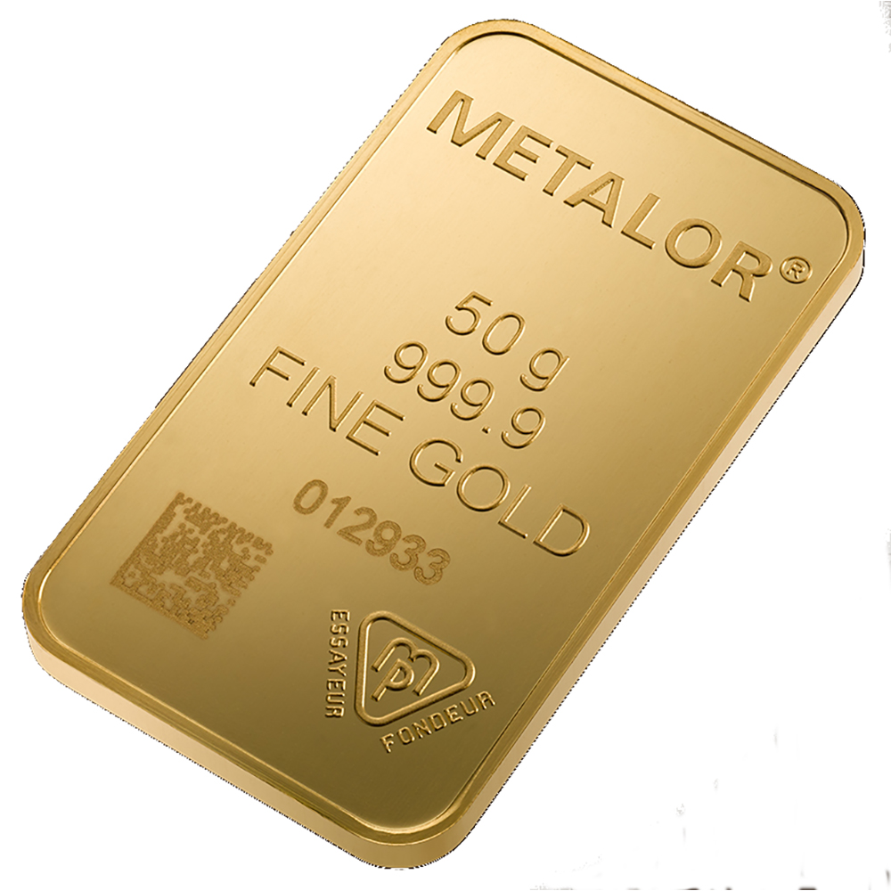 Metalor Stamped 50g Gold Bar Gold Bullion Bars