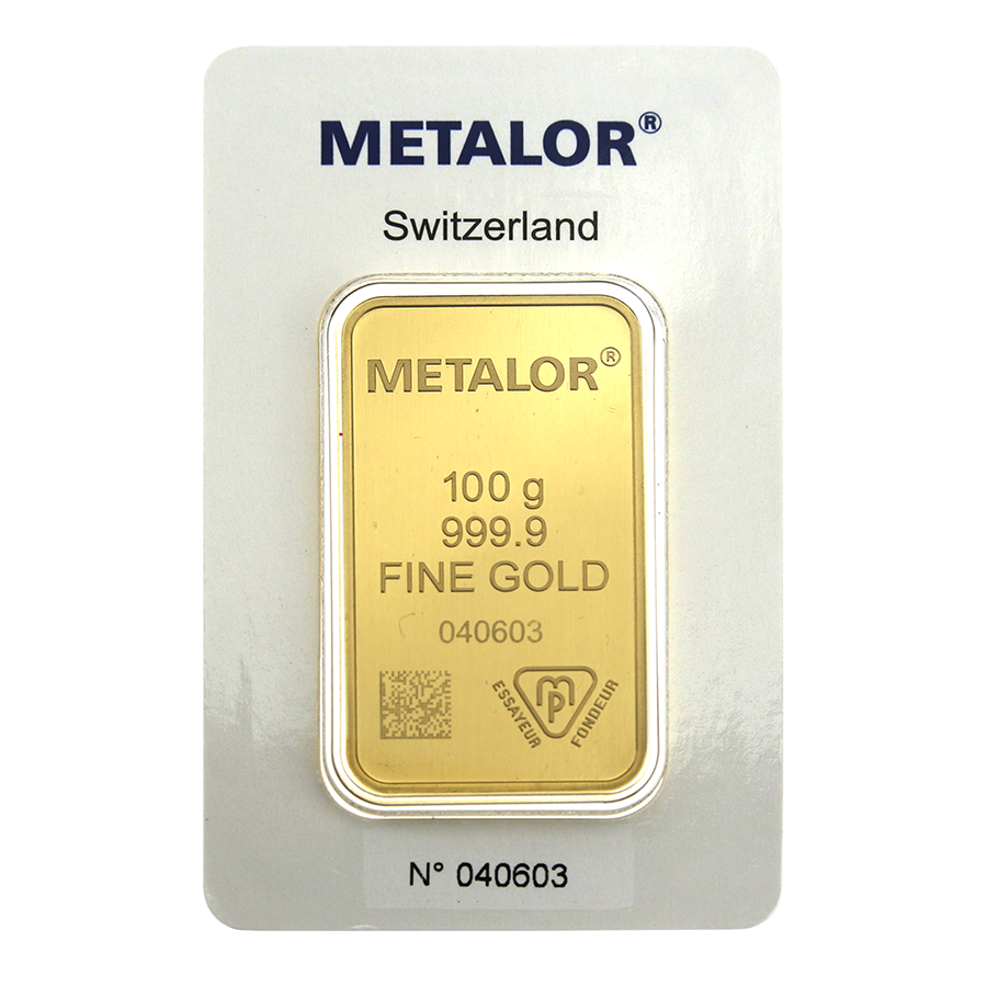 Metalor Stamped 100g Gold Bar
