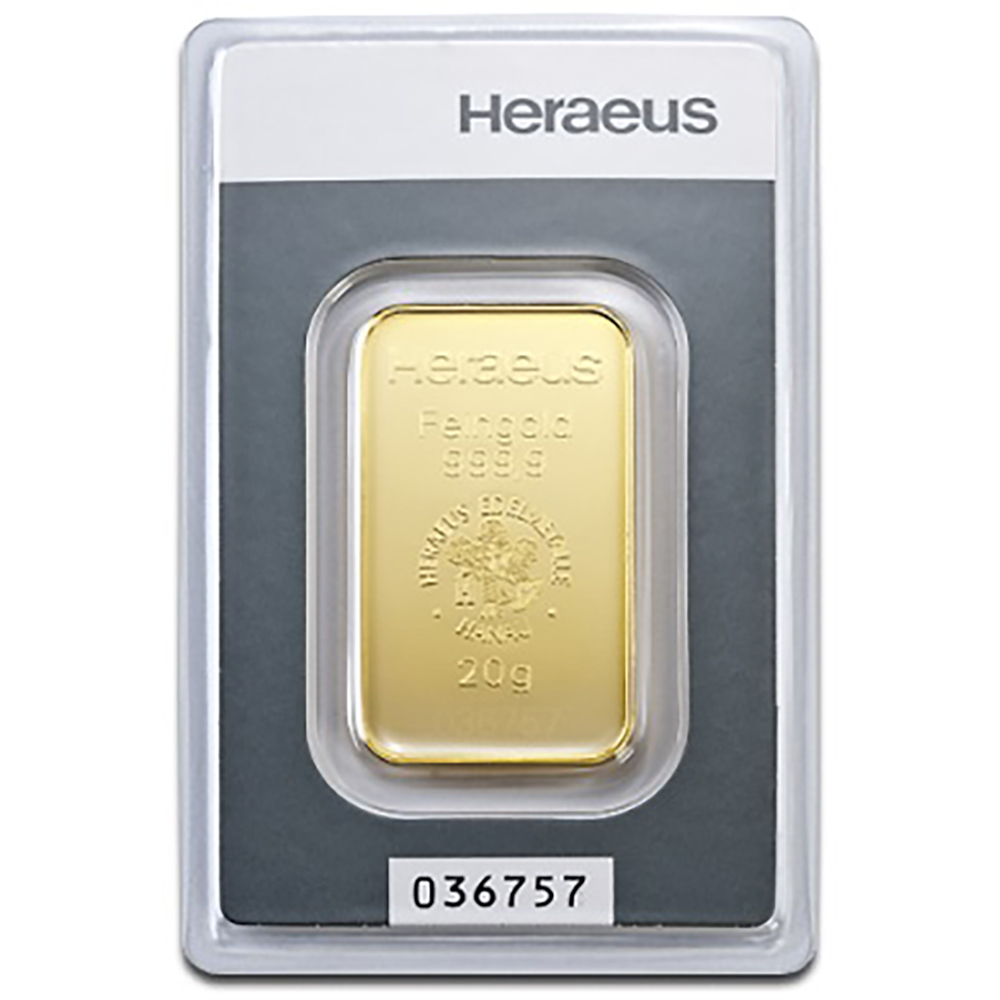 Heraeus 20g Gold Bar (Image 1)