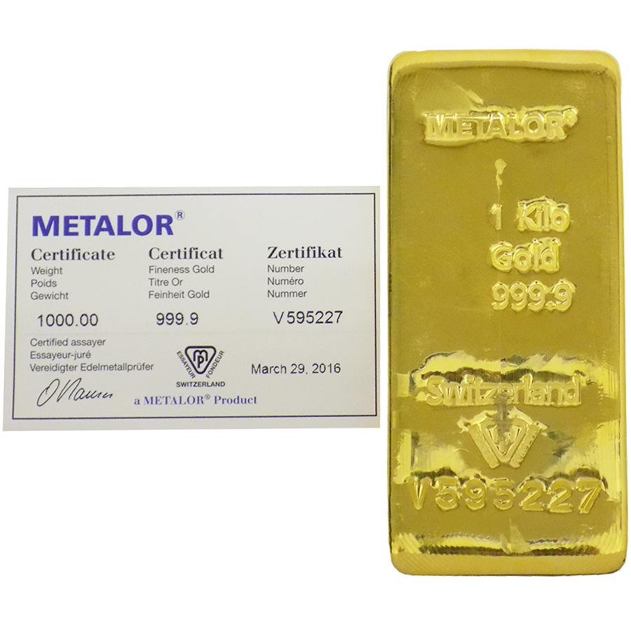Metalor 1Kg Gold Cast Bar
