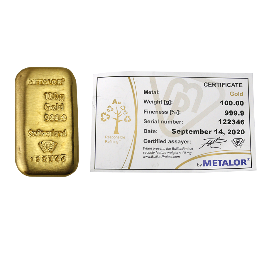 Metalor 100g Cast Gold Bar