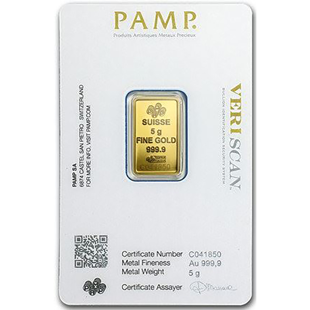 Pamp Suisse Fortuna 5g Gold Bar Five Gram Gold Bullion Bars