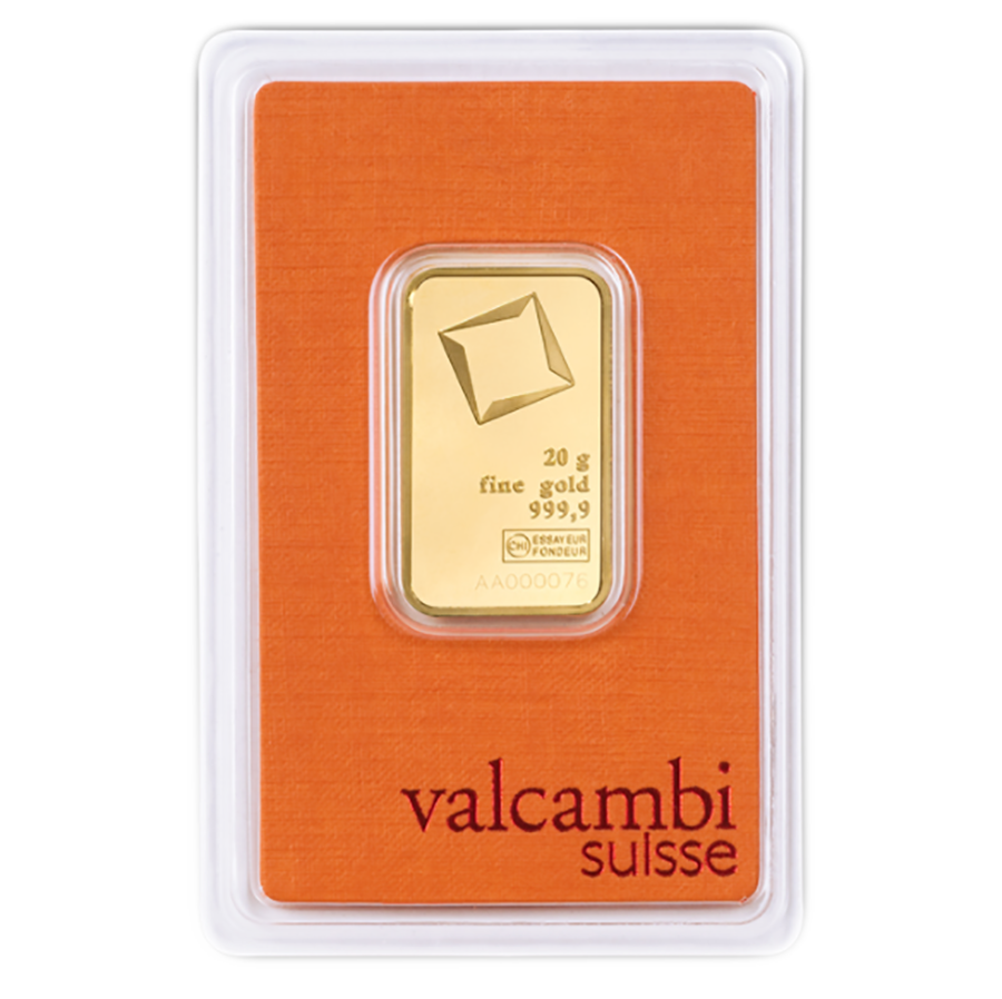 Valcambi 20g Stamped Gold Bar