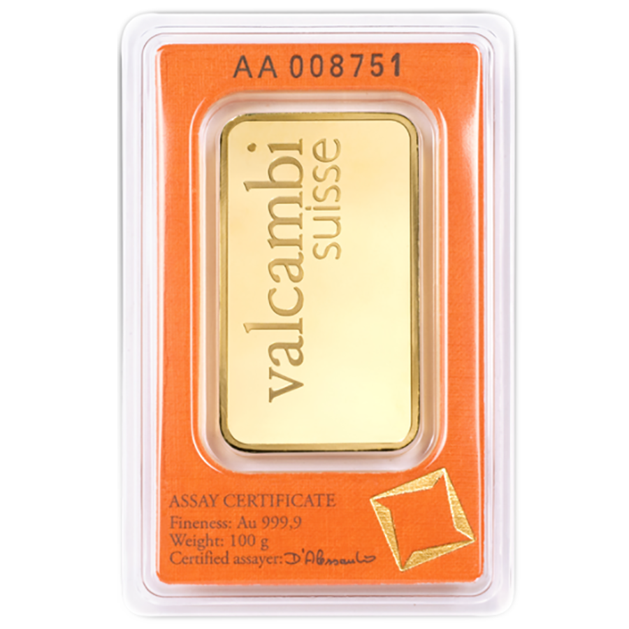 Valcambi 100g Stamped Gold Bar (Image 2)