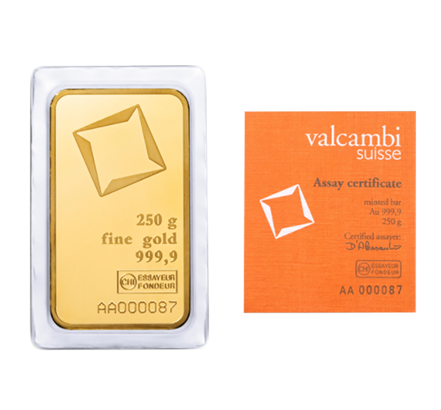 Valcambi 250g Stamped Gold Bar