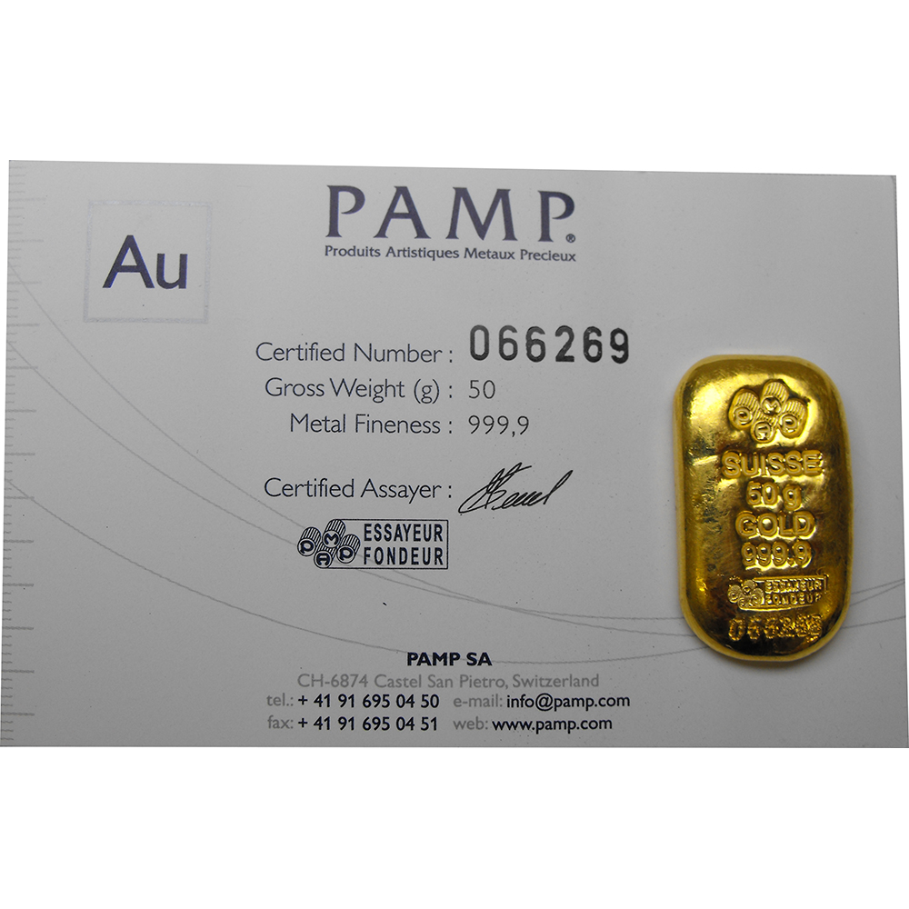 Pamp Suisse 50g Gold Cast Bar 50g Gold Bars Free Delivery